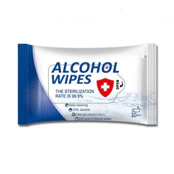 HUAYU 75%alcohol wipes in packs 10pcs sanitary products alcohol wipes private label