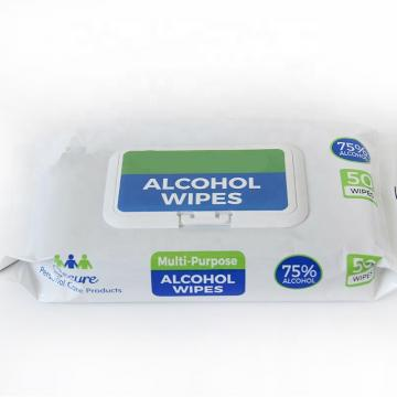 50 pcs/pack of stock can be customized antiseptic wet wipes, office and home 75% alcohol wipes